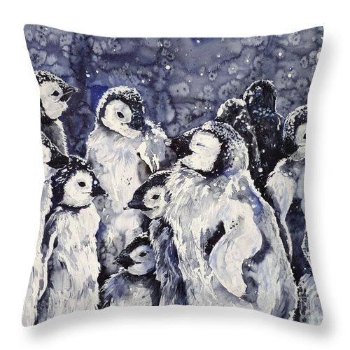 Penguins Throw Pillow featuring the painting Sleepy Penguins by Zaira Dzhaubaeva