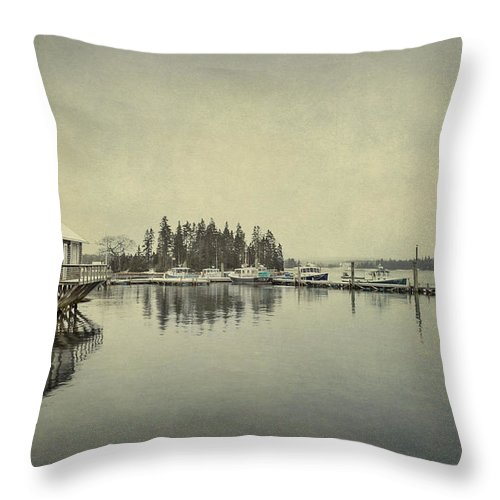Bernard Throw Pillow featuring the photograph Sleepy Shores by Evelina Kremsdorf