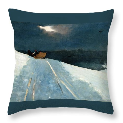 Moonlight Throw Pillow featuring the painting Sleigh Ride 1890 by Philip Ralley