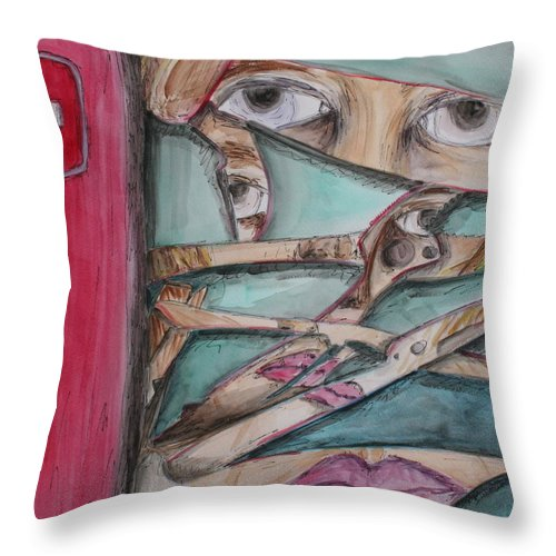 Swiss Army Knife Throw Pillow featuring the painting Sliced by Kate Fortin