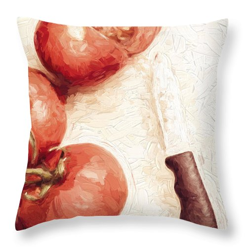 Knife Throw Pillow featuring the digital art Sliced Tomatoes. Vintage Cooking Artwork by Jorgo Photography - Wall Art Gallery