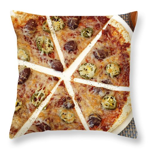 Tortilla Throw Pillow featuring the photograph Sliced Tortilla Pizza by Lee Serenethos