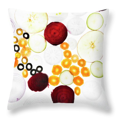 Olive Throw Pillow featuring the photograph Sliced Vegetables On Counter by Lisbeth Hjort