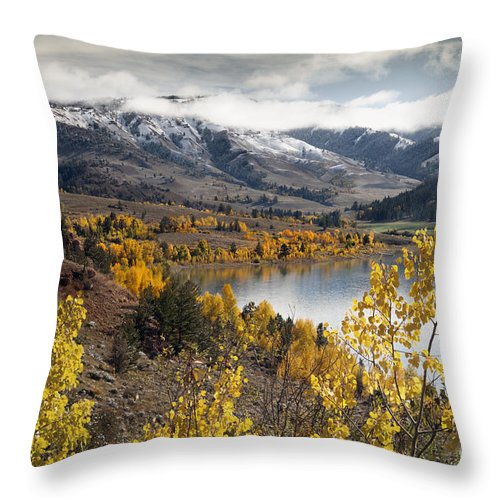 Landscapes Throw Pillow featuring the photograph Slide Lake by Wildlife Fine Art