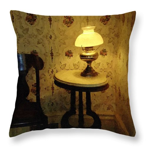 Antiques Throw Pillow featuring the painting Slightly Tipsy by RC DeWinter
