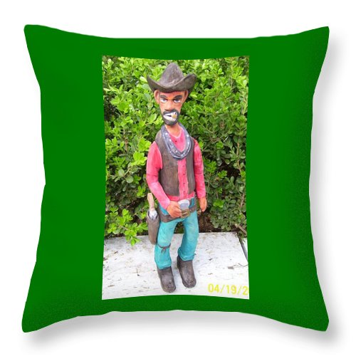 Cowboy Throw Pillow featuring the mixed media Slim by Michael Pasko