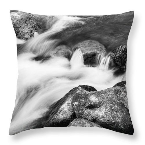 Outdoors Throw Pillow featuring the photograph Slow Flow Black And White by James BO Insogna