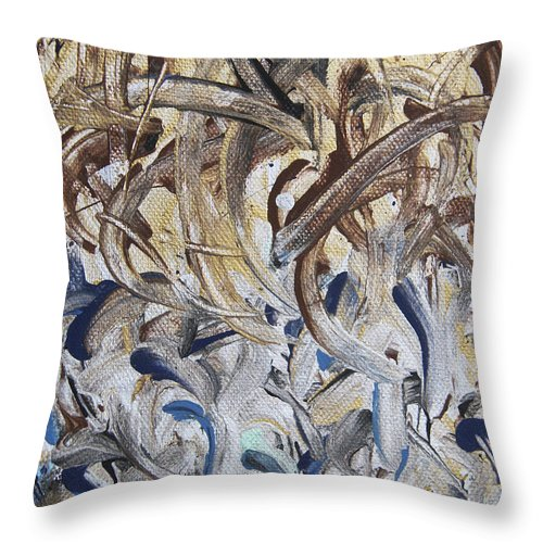 Abstract Throw Pillow featuring the painting Slowly by Laura Lane