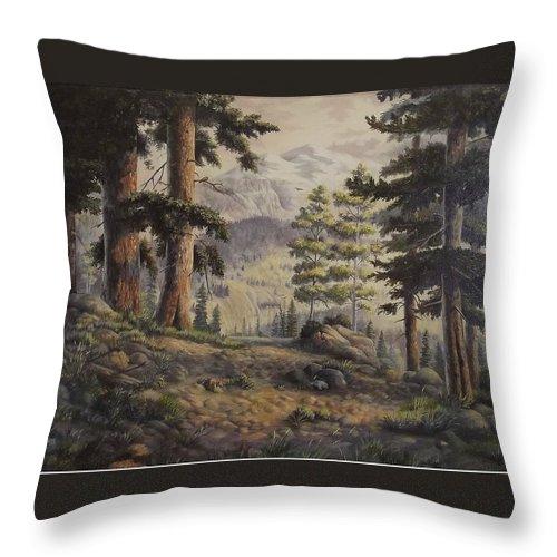 Slumgullian Mountain Colo. Throw Pillow featuring the painting Slumgullian Pass by Wanda Dansereau