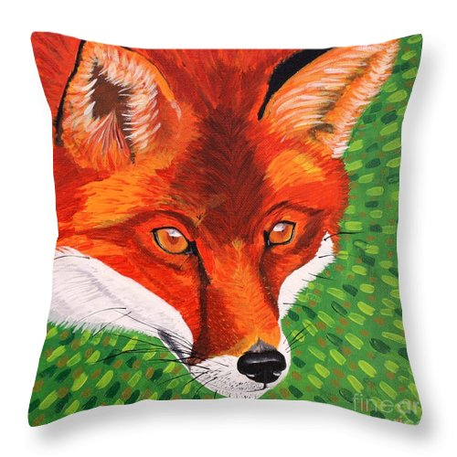 Fox Throw Pillow featuring the painting Sly Mr. Fox by Vicki Maheu