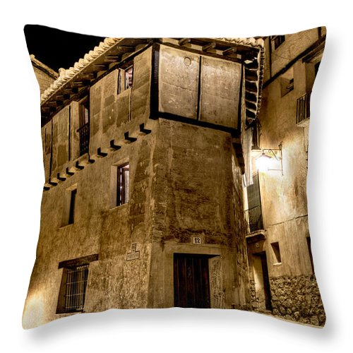 Albarracin Throw Pillow featuring the photograph Small House In Albarracin At Night by Weston Westmoreland