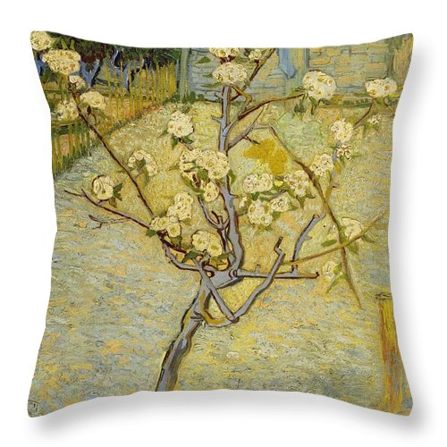 1888 Throw Pillow featuring the painting Small Pear Tree In Blossom by Vincent van Gogh