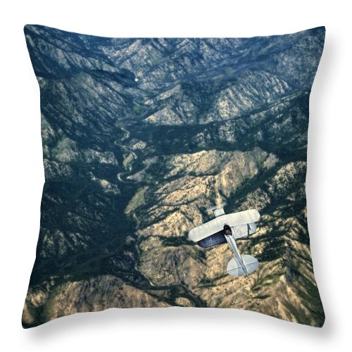 Plane Throw Pillow featuring the photograph Small Plane Flying Over Mountains by Jill Battaglia