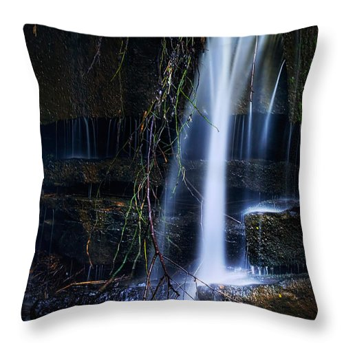 Waterfall Throw Pillow featuring the photograph Small Waterfall by Tom Mc Nemar