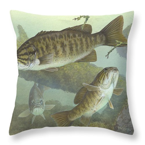 Smallmouth Bass Throw Pillow featuring the painting Smallmouth Bass by Mountain Dreams