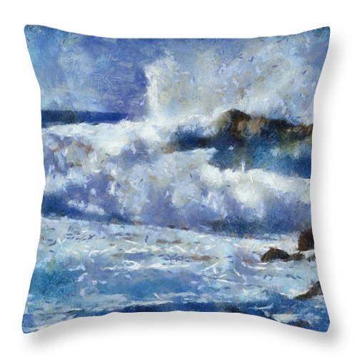 Digital Throw Pillow featuring the digital art Smashing Onto The Rocks by Carol Sullivan
