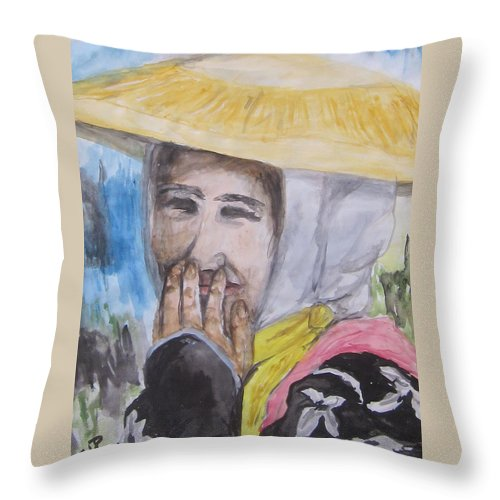 Asian Woman Throw Pillow featuring the painting Smile by Cheryl Pettigrew