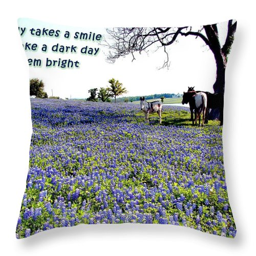Bluebonnets Throw Pillow featuring the photograph Smile by Linda Cox