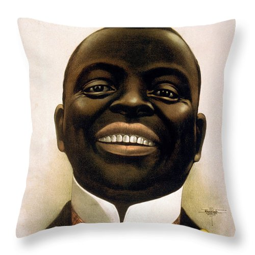 Smiling Throw Pillow featuring the painting Smiling African American Circa 1900 by Aged Pixel