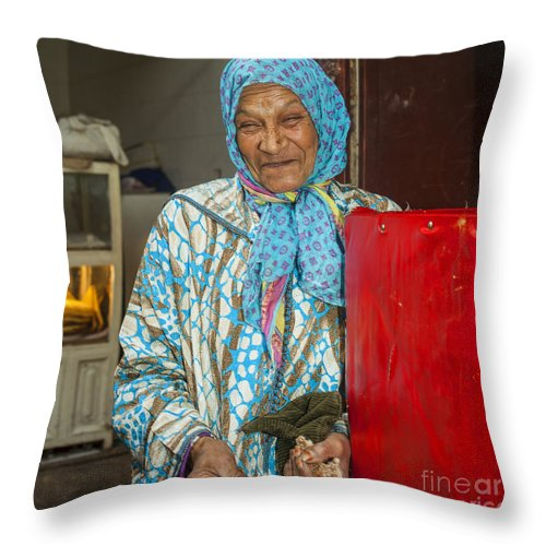 Arab Throw Pillow featuring the photograph Smiling Arab Woman by Patricia Hofmeester