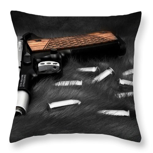 1911 Throw Pillow featuring the photograph Smith And Wesson 1911sc Still Life by Tom Mc Nemar