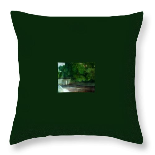 Smithville Park Throw Pillow featuring the painting Smithville Park Dam by Sheila Mashaw