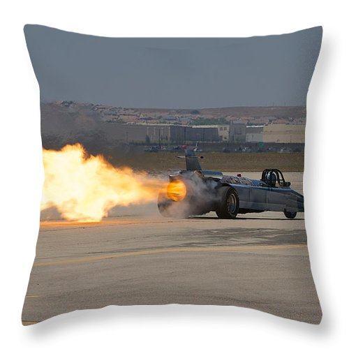 Jet Dragster Throw Pillow featuring the photograph Smoke N Thunder Jet Car by Richard J Cassato