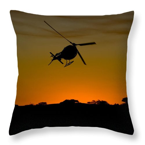 Eurocopter As350 B3 Throw Pillow featuring the photograph Smoke by Paul Job