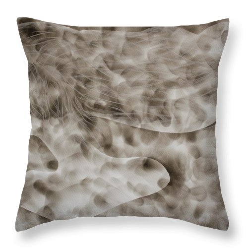 Woman Face Throw Pillow featuring the painting Smoke Spirit Original Fumage Painting by Georgeta Blanaru