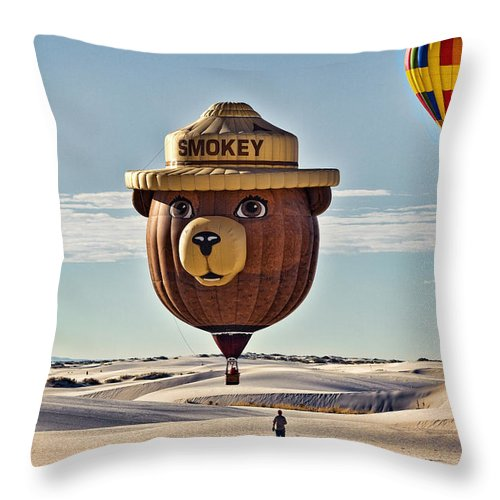 Hot Air Balloon Throw Pillow featuring the photograph Smokey by Diana Powell