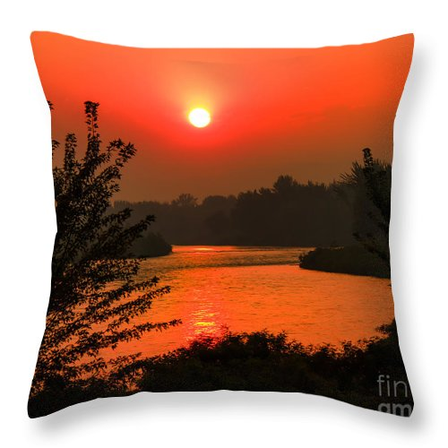 Sunrise Throw Pillow featuring the photograph Smokey Sunrise by Robert Bales