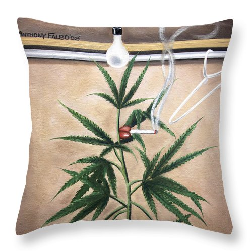 Smoking Section Throw Pillow featuring the painting Smoking Section by Anthony Falbo