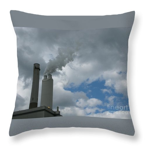 Smoke Stack Throw Pillow featuring the photograph Smoking Stack by Ann Horn