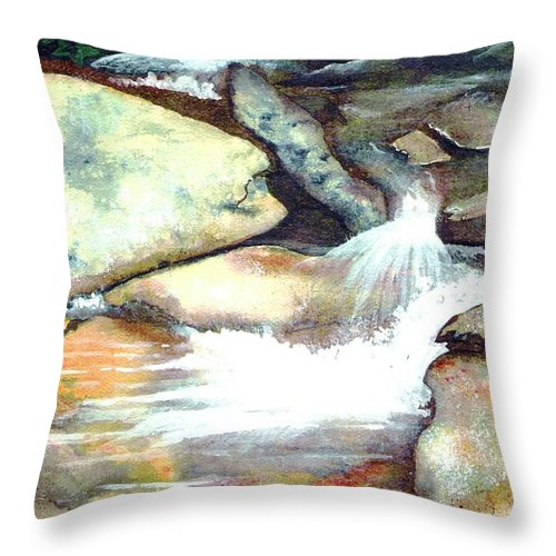 Fine Art Throw Pillow featuring the painting Smoky Mountains Waterfall by Patricia Griffin Brett