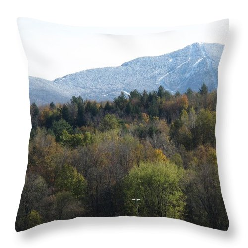 Mountain Throw Pillow featuring the photograph Smugglers Notch From Cambridge Vermont by Barbara McDevitt