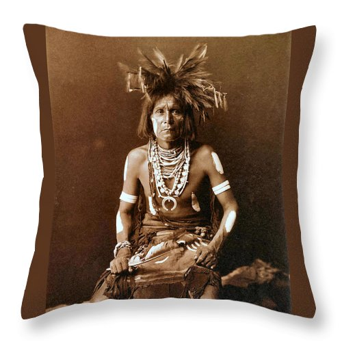 Snake Priest Throw Pillow featuring the digital art Snake Priest by Unknown