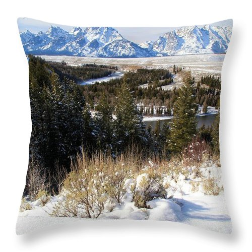 Grand Teton National Park Throw Pillow featuring the photograph Snake River Overlook by Adam Jewell