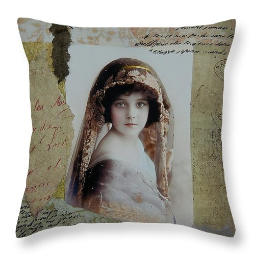 Girl Throw Pillow featuring the painting Snapshot In Time by Tamyra Crossley