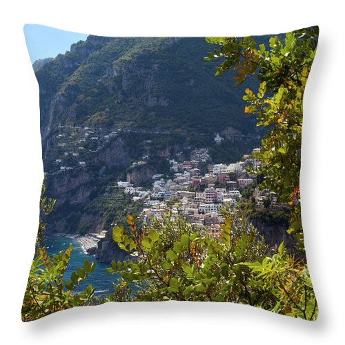Postitano Italy Amalfi Coast Mediterranean Sea Seas Water Building Buildings Structure Structures Landscape Landscapes Cityscape Cityscapes City Cities Throw Pillow featuring the photograph Sneak View by Bob Phillips