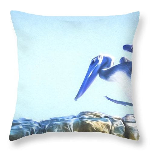 Pelican Throw Pillow featuring the mixed media Sneaky Pelican Art by Priya Ghose