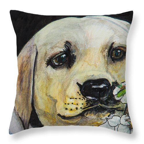 Labrador Retriever Throw Pillow featuring the painting Sniff The Flowers by Roger Wedegis