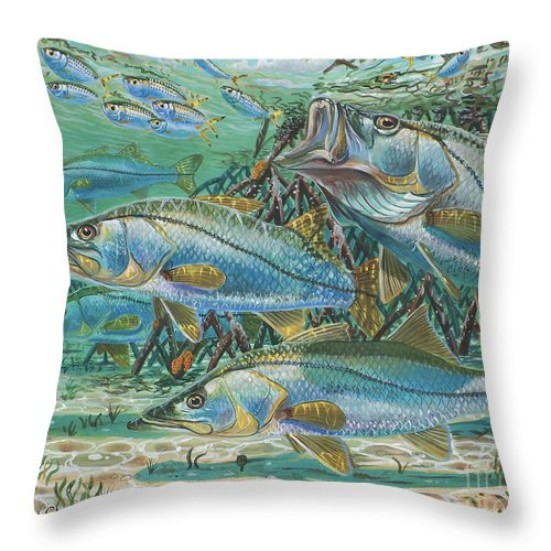 Snook Throw Pillow featuring the painting Snook Attack In0014 by Carey Chen