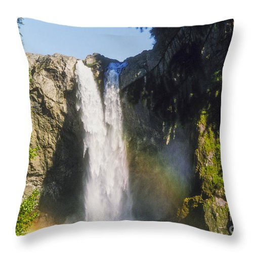 Snoqualime Falls Throw Pillow featuring the photograph Snoqualime Falls by Bob Phillips