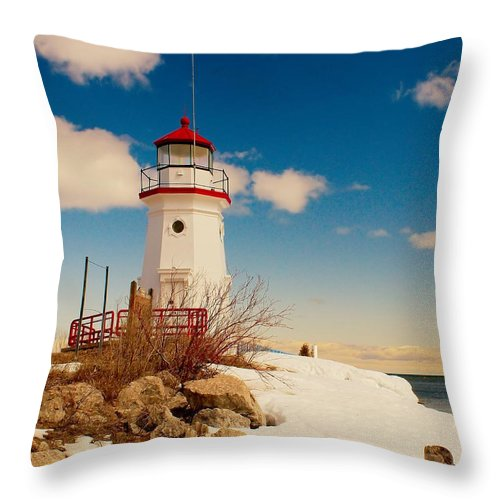 Cheboygan Throw Pillow featuring the photograph Snow At Cheboygan Crib by Nick Zelinsky