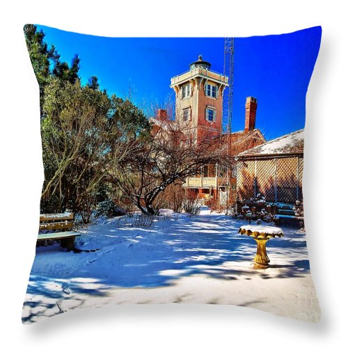 Architecture Throw Pillow featuring the photograph Snow At Hereford Inlet by Nick Zelinsky