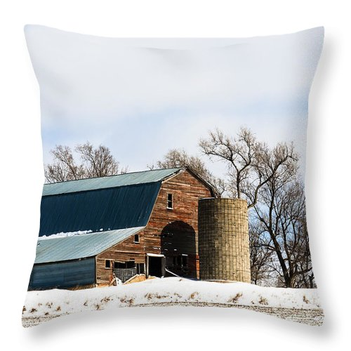 Barns Throw Pillow featuring the photograph Snow Barn by Edward Peterson