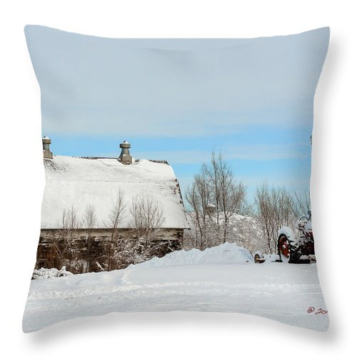 Winter Scene Throw Pillow featuring the photograph Snow Barns by Edward Peterson