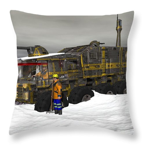 Digital Art Throw Pillow featuring the digital art Snow Bound by Michael Wimer