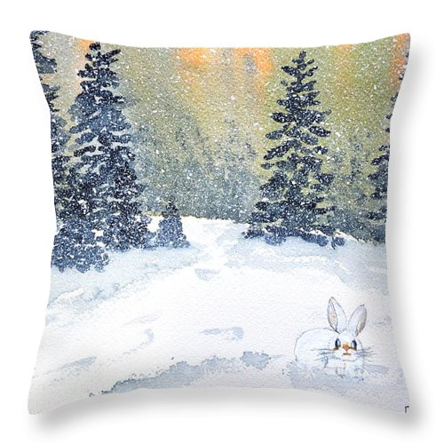 Snow Throw Pillow featuring the painting Snow Bunny by Patricia Novack