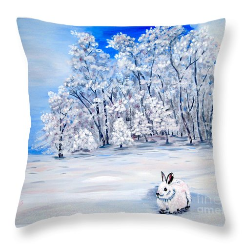 Bunny Throw Pillow featuring the painting Snow Bunny by Phyllis Kaltenbach